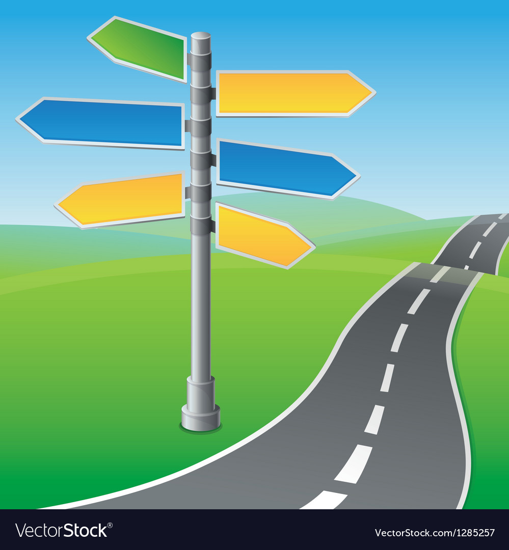 Road sign with different directions vector | Price: 1 Credit (USD $1)
