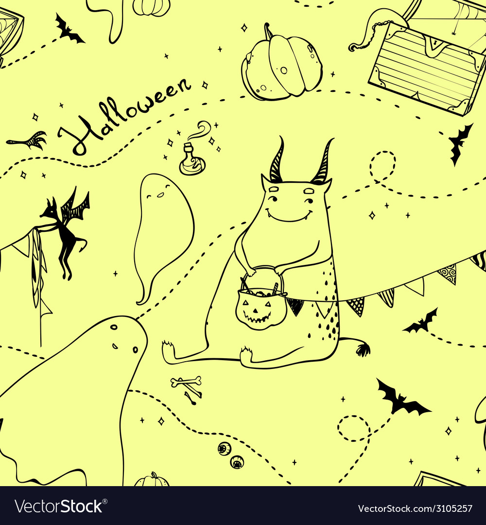 Seamless pattern with ghosts pumpkins and monster vector   Price: 1 Credit (USD $1)
