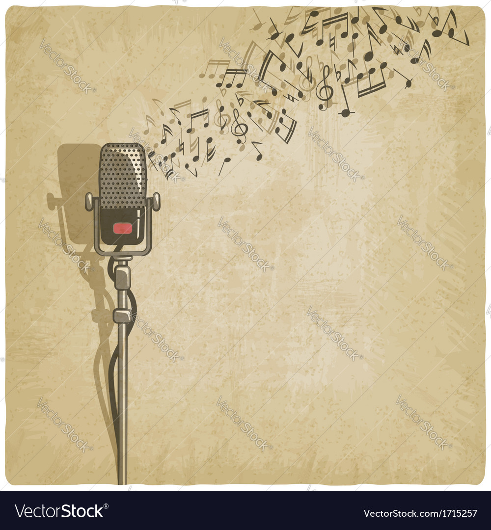 Vintage background with microphone vector | Price: 1 Credit (USD $1)