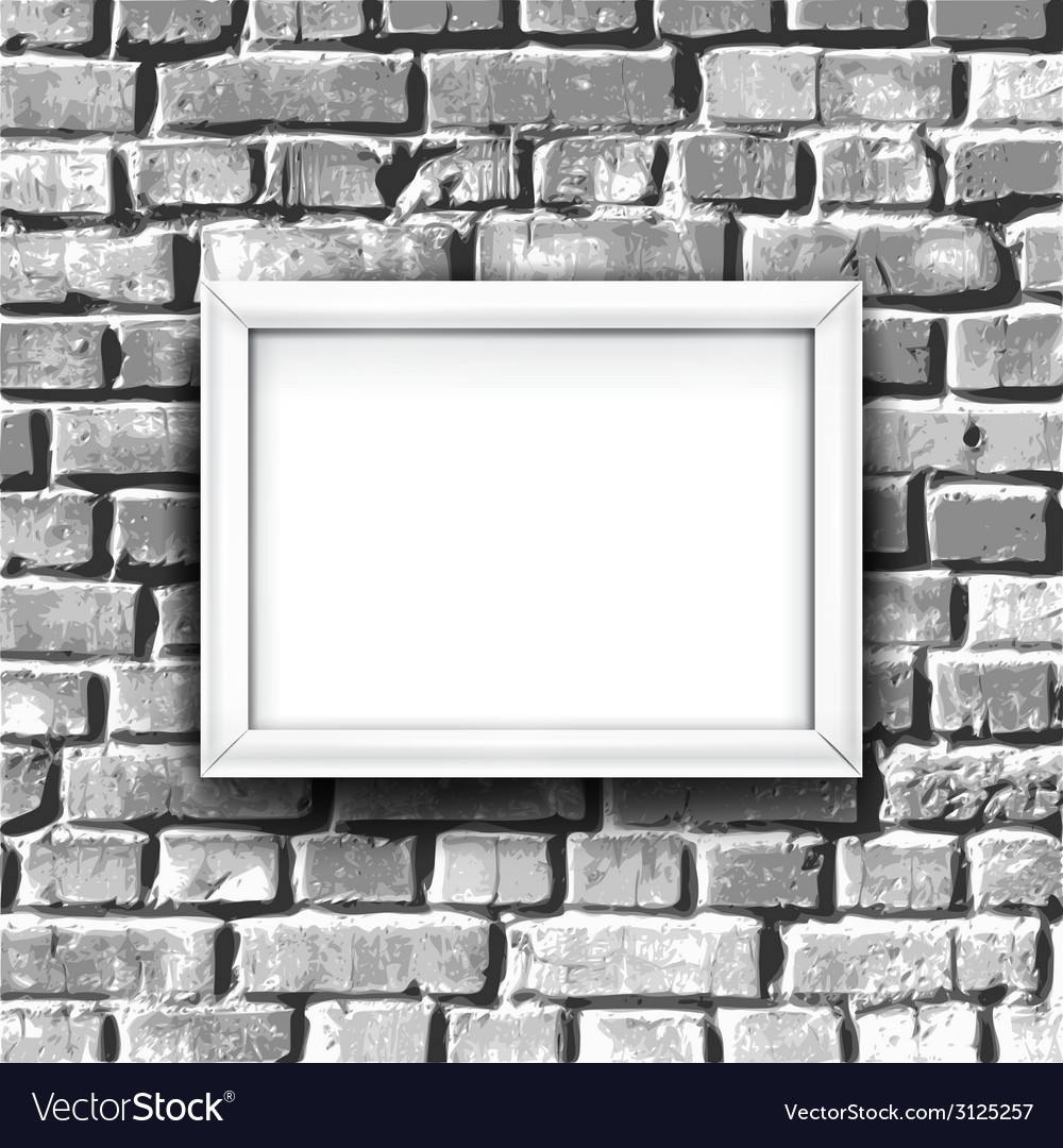 White photo frame on brick wall background with vector | Price: 1 Credit (USD $1)