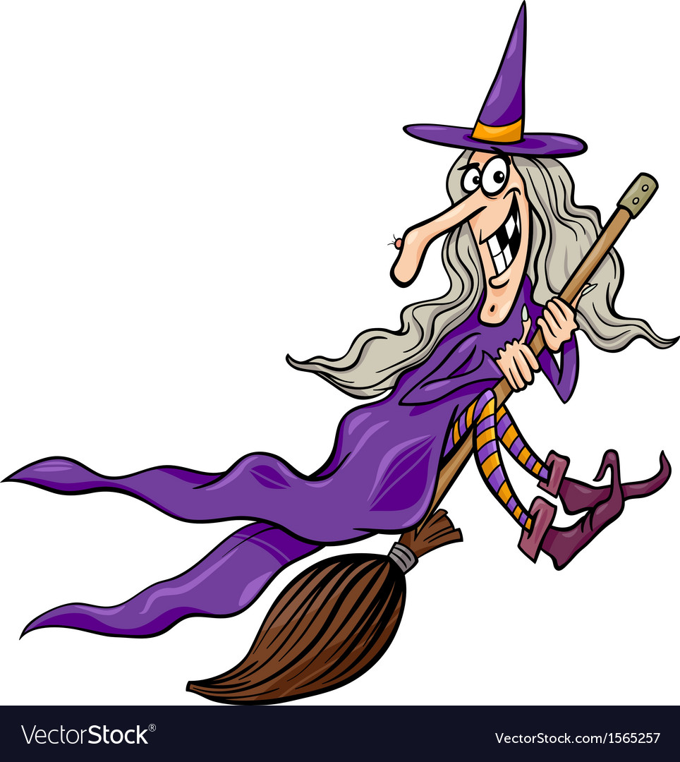 Witch on broom cartoon vector | Price: 1 Credit (USD $1)