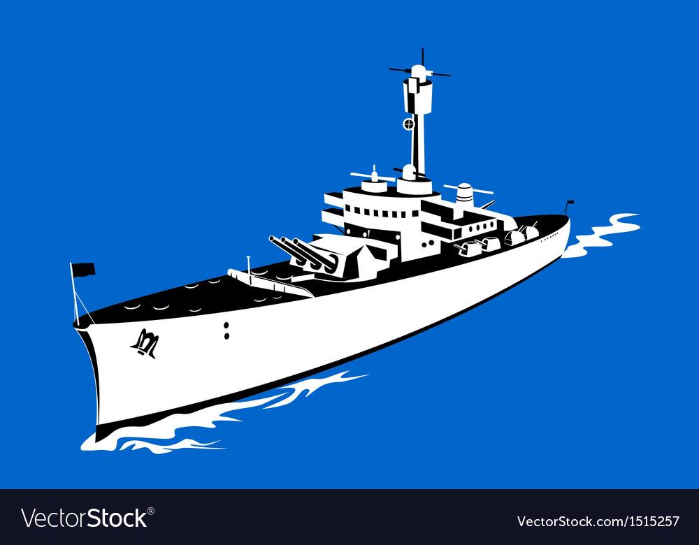 World war two battleship retro vector | Price: 1 Credit (USD $1)