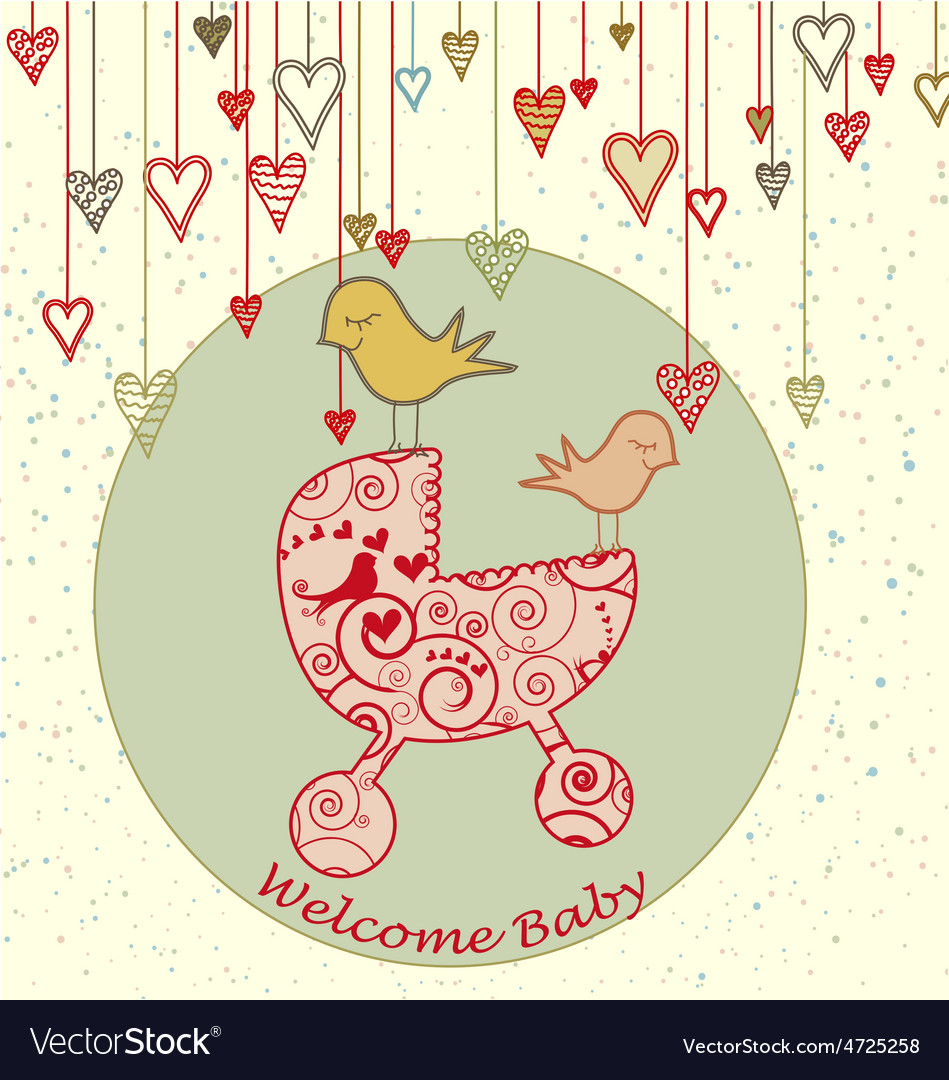 A cute card with birds holding a stroller and vector | Price: 1 Credit (USD $1)