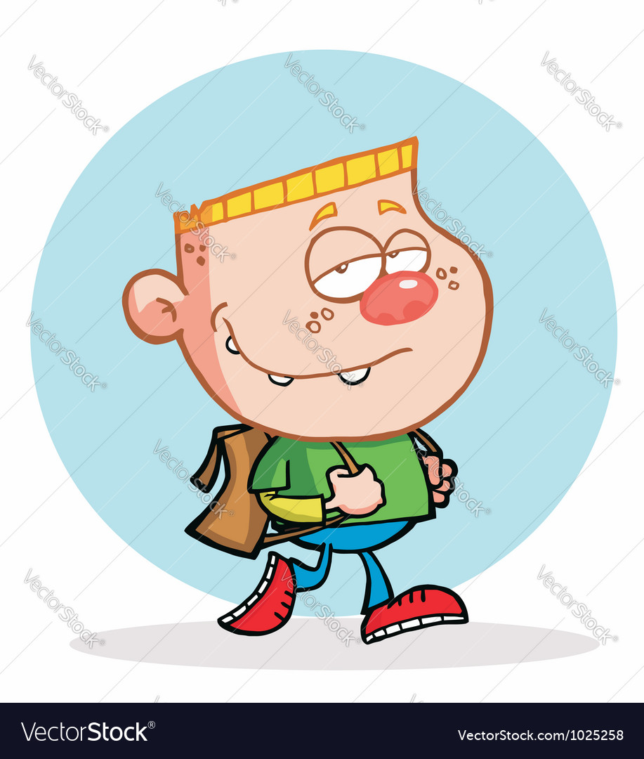 Blond boy walking to school vector | Price: 1 Credit (USD $1)