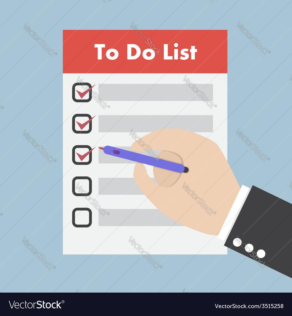 Businessman hand check the checklist vector | Price: 1 Credit (USD $1)