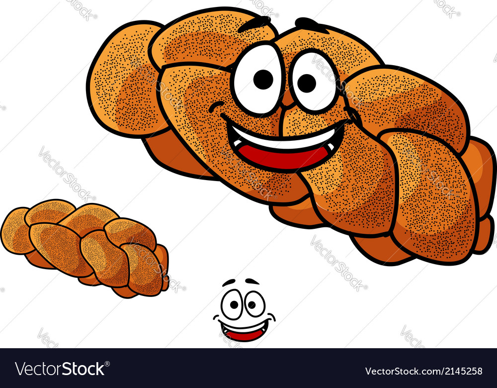 Cartoon loaf of plaited bread with poppy seed vector | Price: 1 Credit (USD $1)