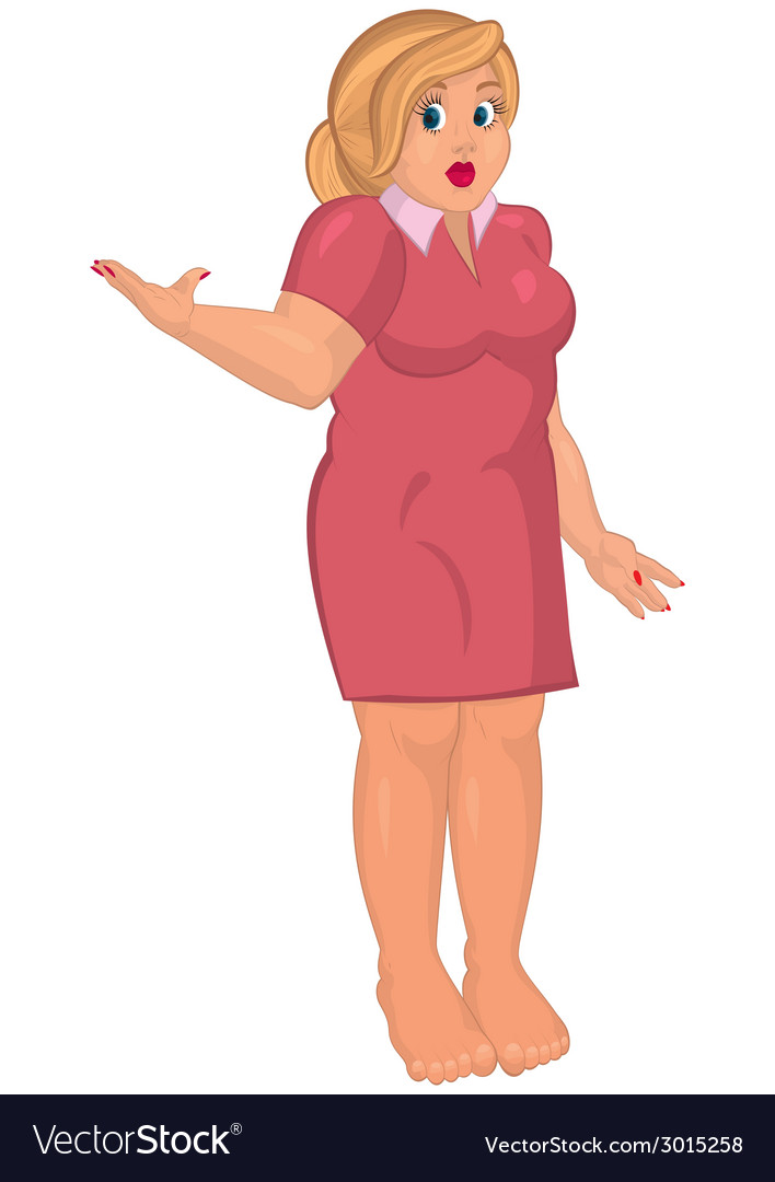 Cartoon young fat woman in pink dress barefoot one vector | Price: 1 Credit (USD $1)