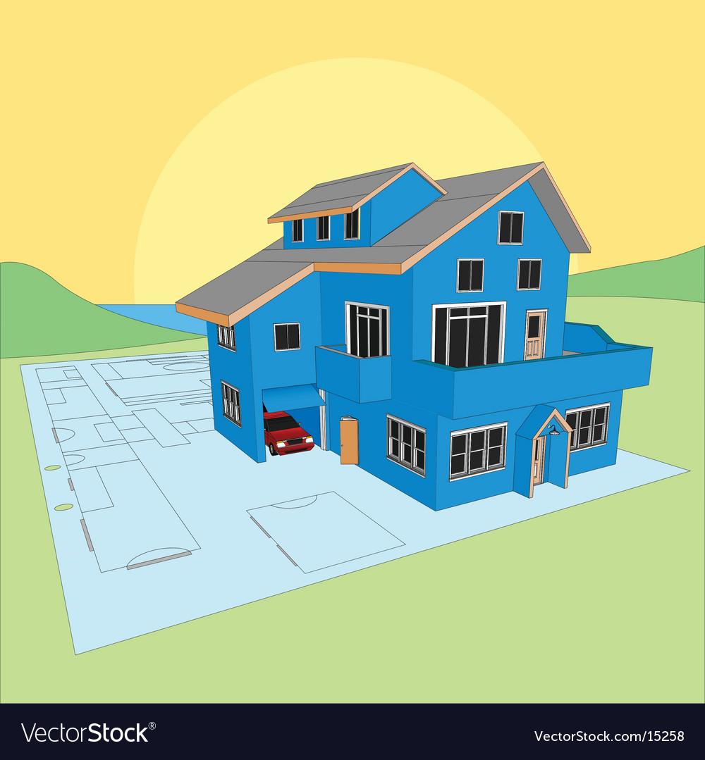 Dream home blueprint vector | Price: 3 Credit (USD $3)