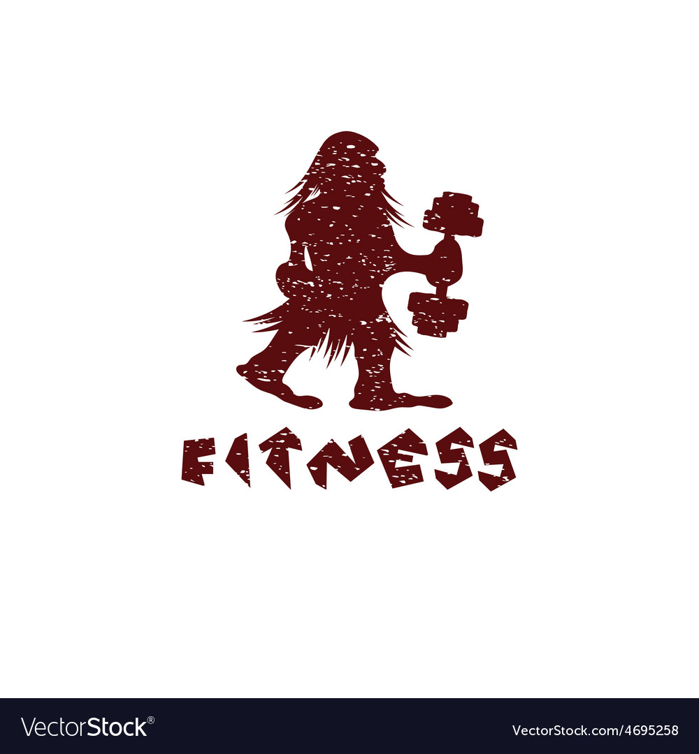 Fitness grunge caveman design template vector