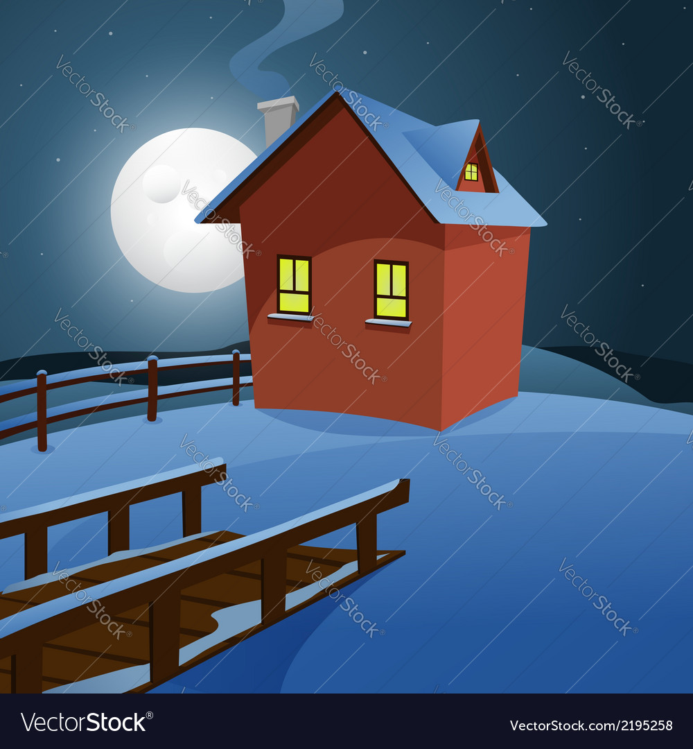 House in the snow vector | Price: 3 Credit (USD $3)