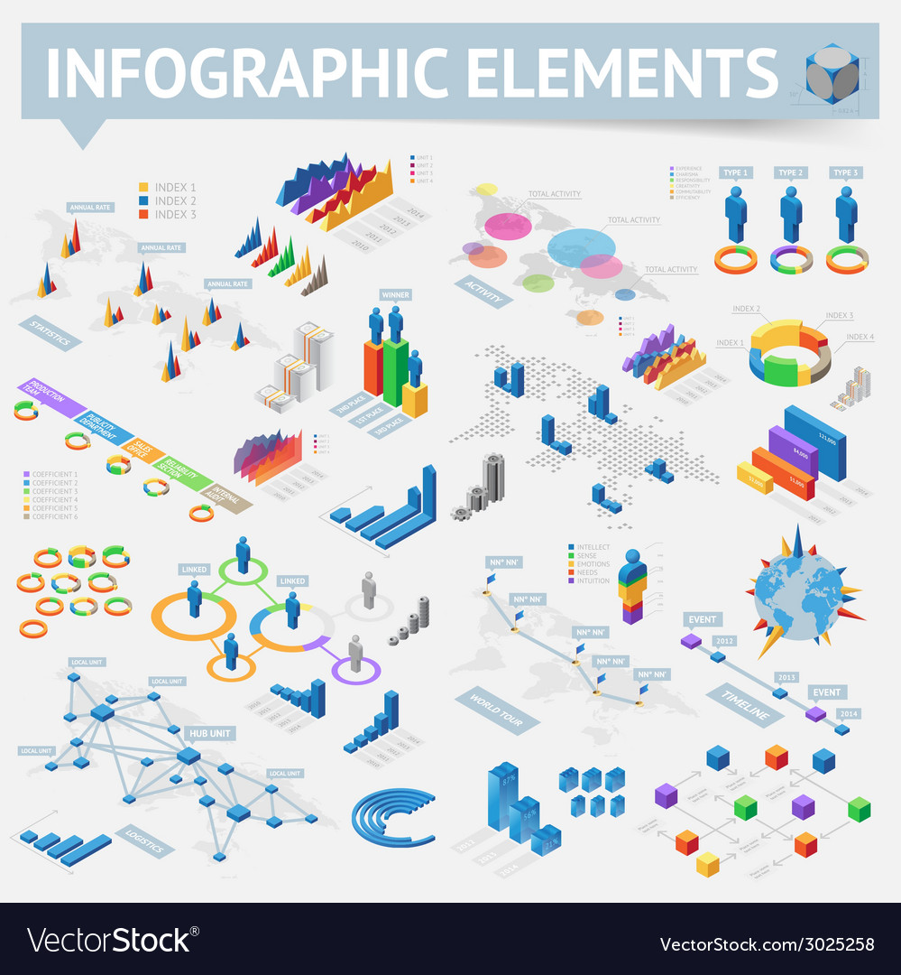 Isometric style infographics with data icons vector | Price: 1 Credit (USD $1)