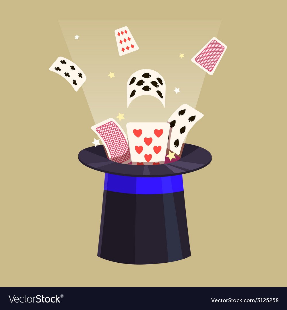 Magic trick retro cards and a hat vector | Price: 1 Credit (USD $1)