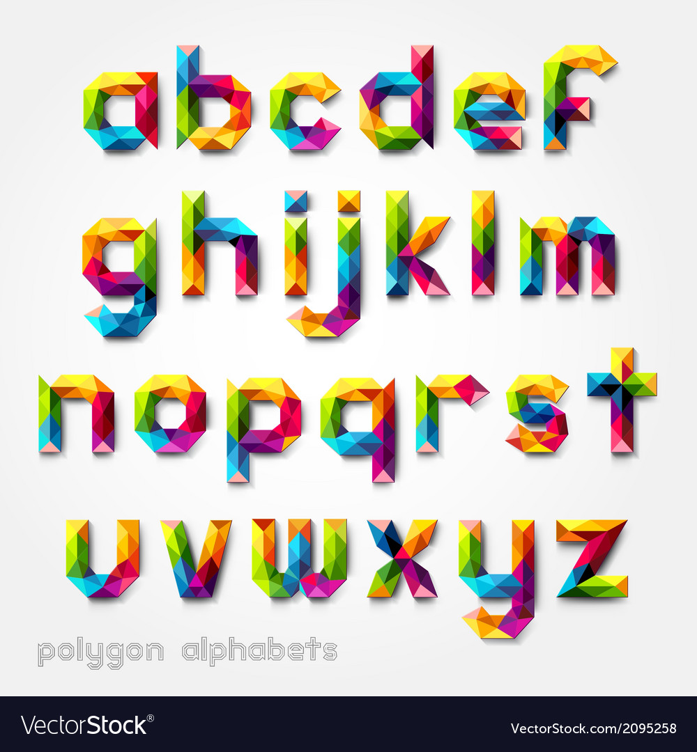 Polygon alphabet colorful font style vector | Price: 1 Credit (USD $1)