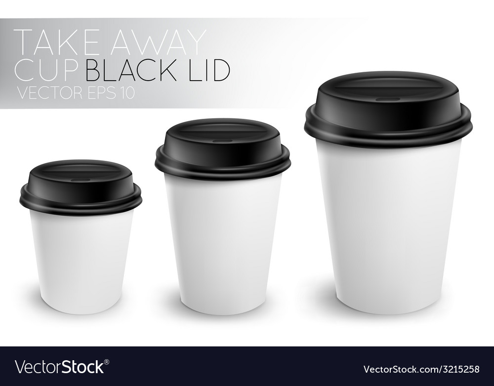 Take away paper cup black cap vector | Price: 1 Credit (USD $1)