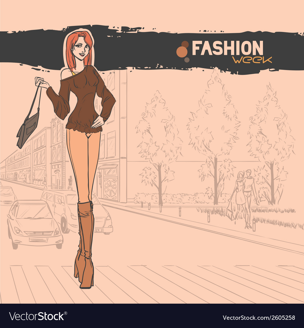 Urban view with slender sexy girl vector | Price: 1 Credit (USD $1)