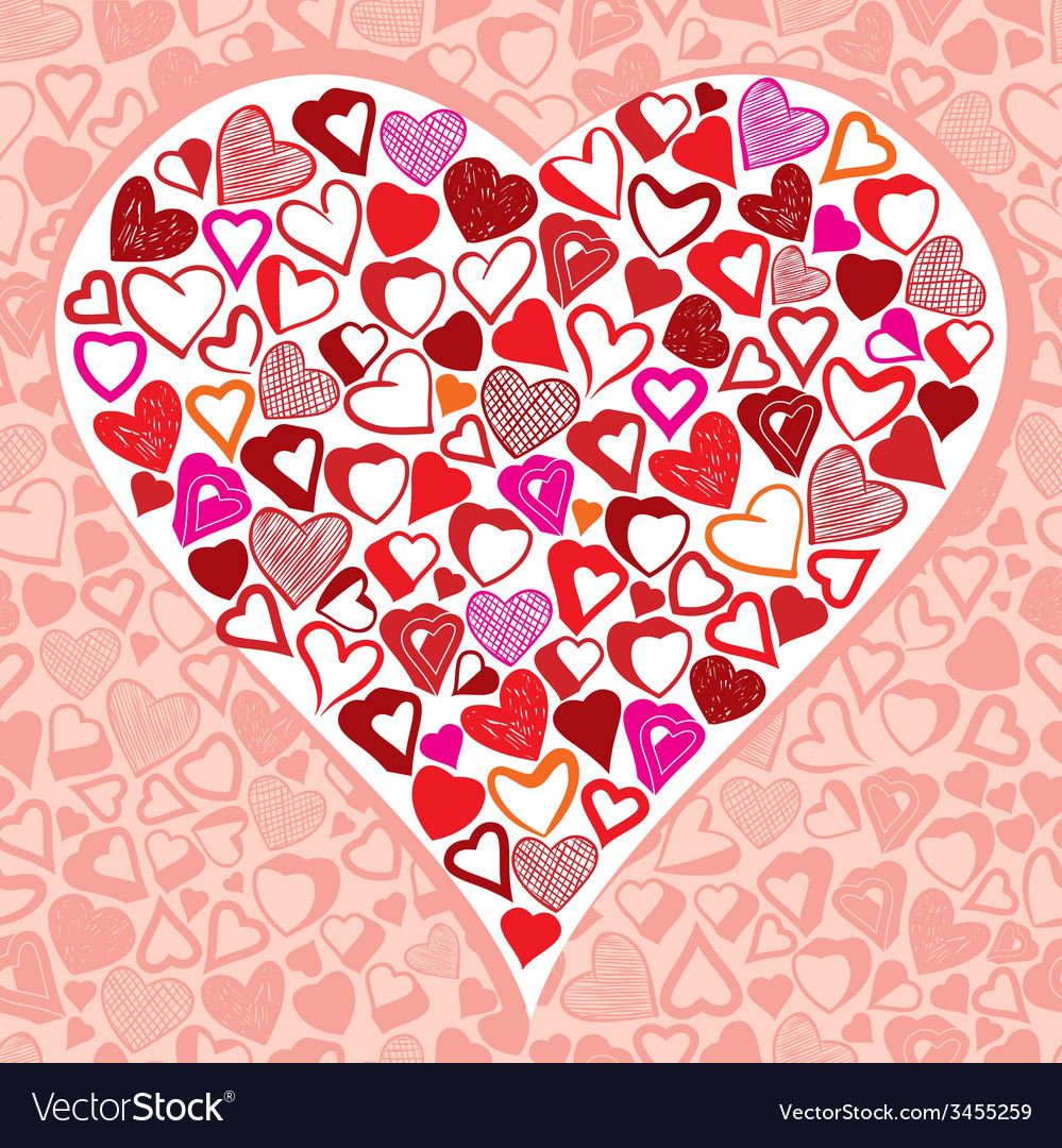 Big heart made with lots of different small hearts vector | Price: 1 Credit (USD $1)