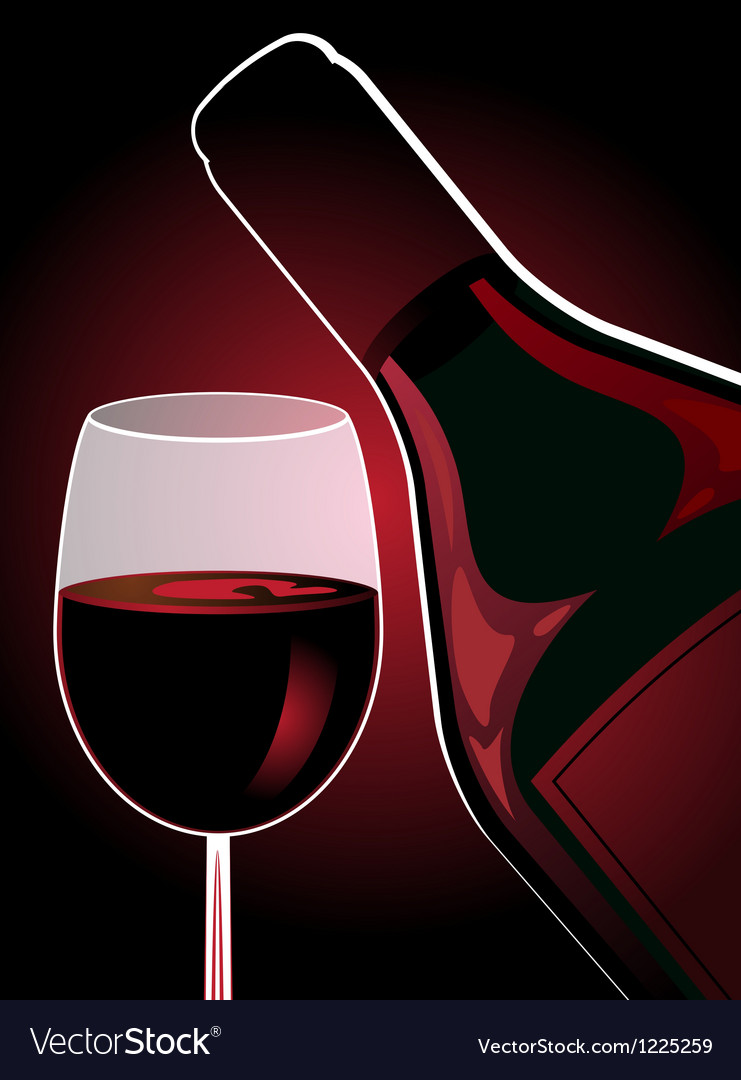 Bottle and glass of red wine vector | Price: 1 Credit (USD $1)