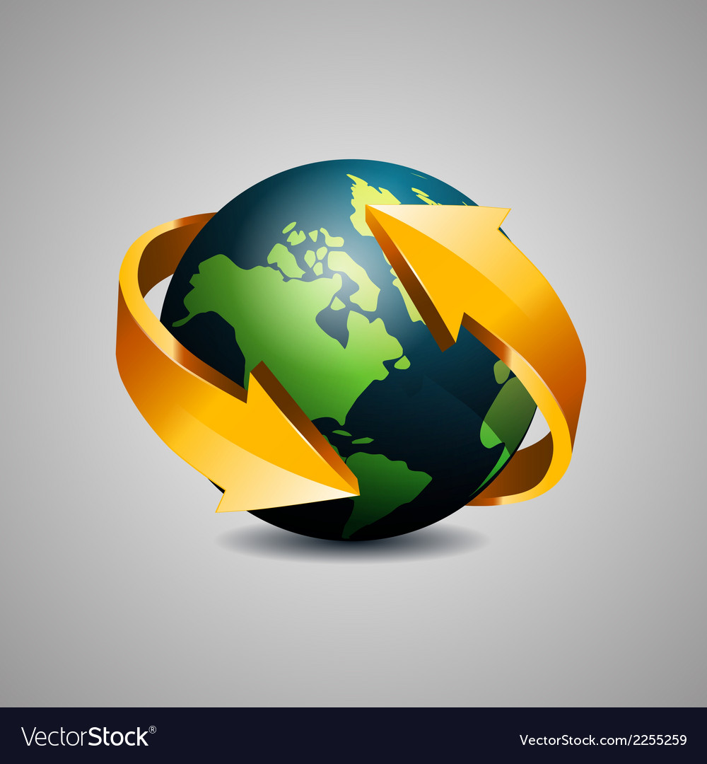 Globe with arrow vector | Price: 1 Credit (USD $1)