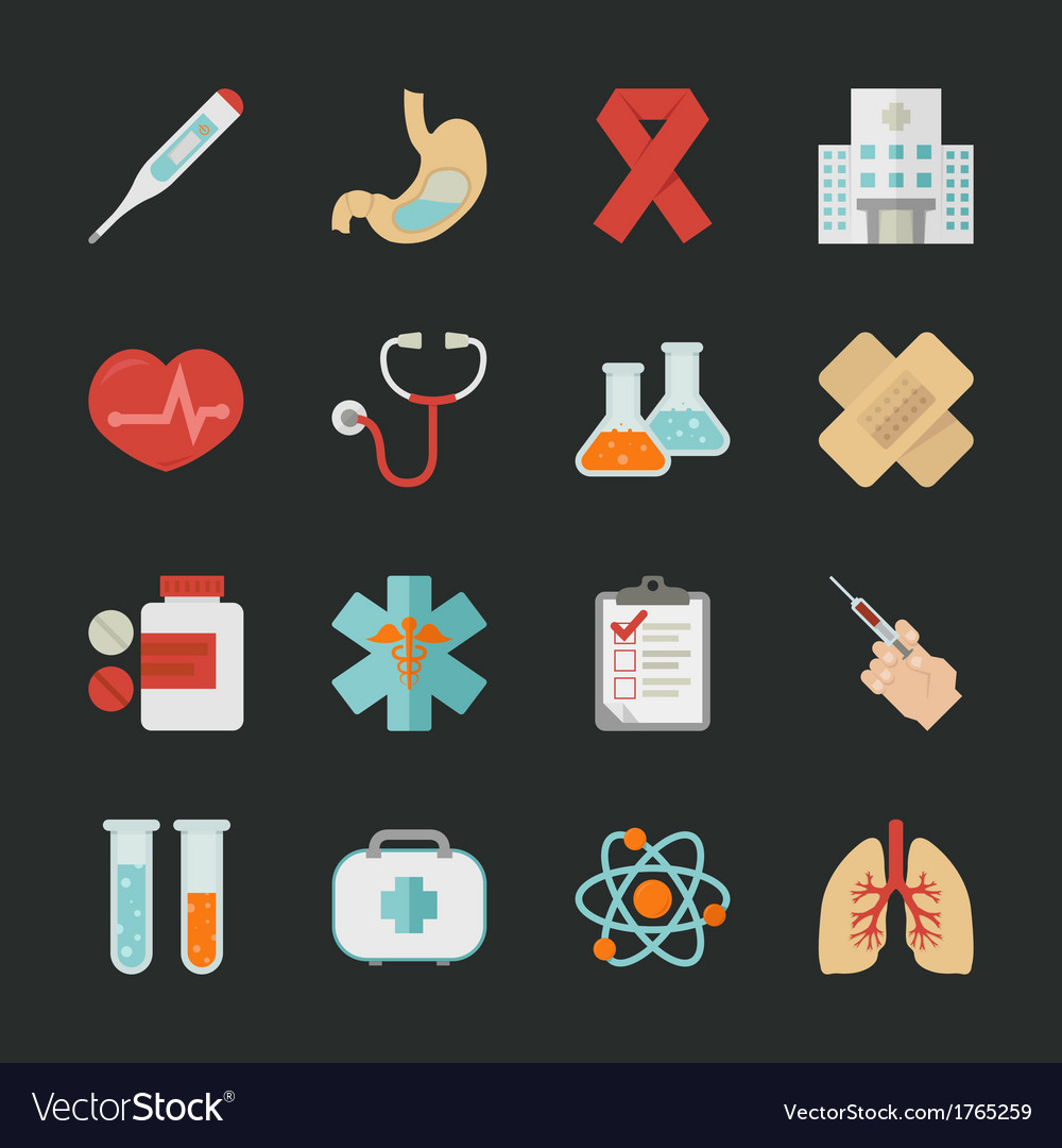 Medical and health icons with black background  e vector | Price: 1 Credit (USD $1)
