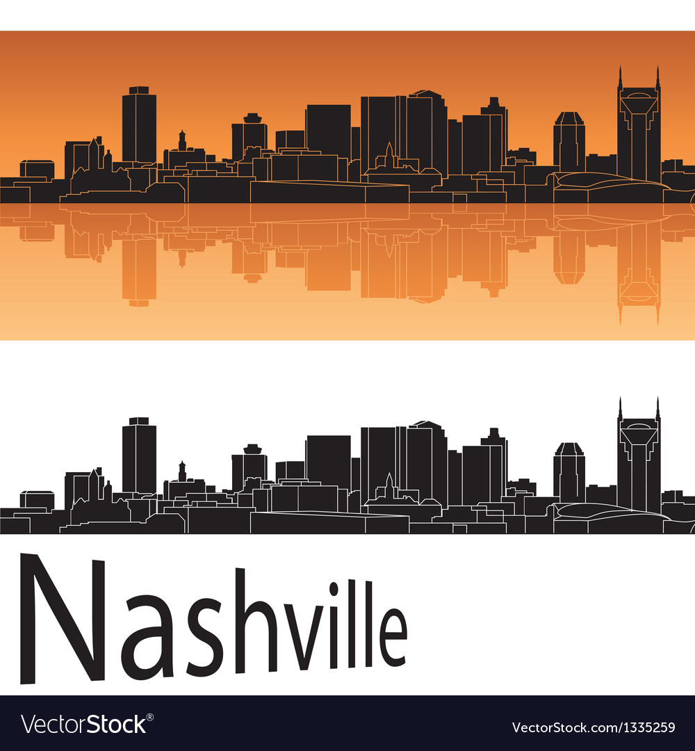 Nashville skyline in orange background vector | Price: 1 Credit (USD $1)