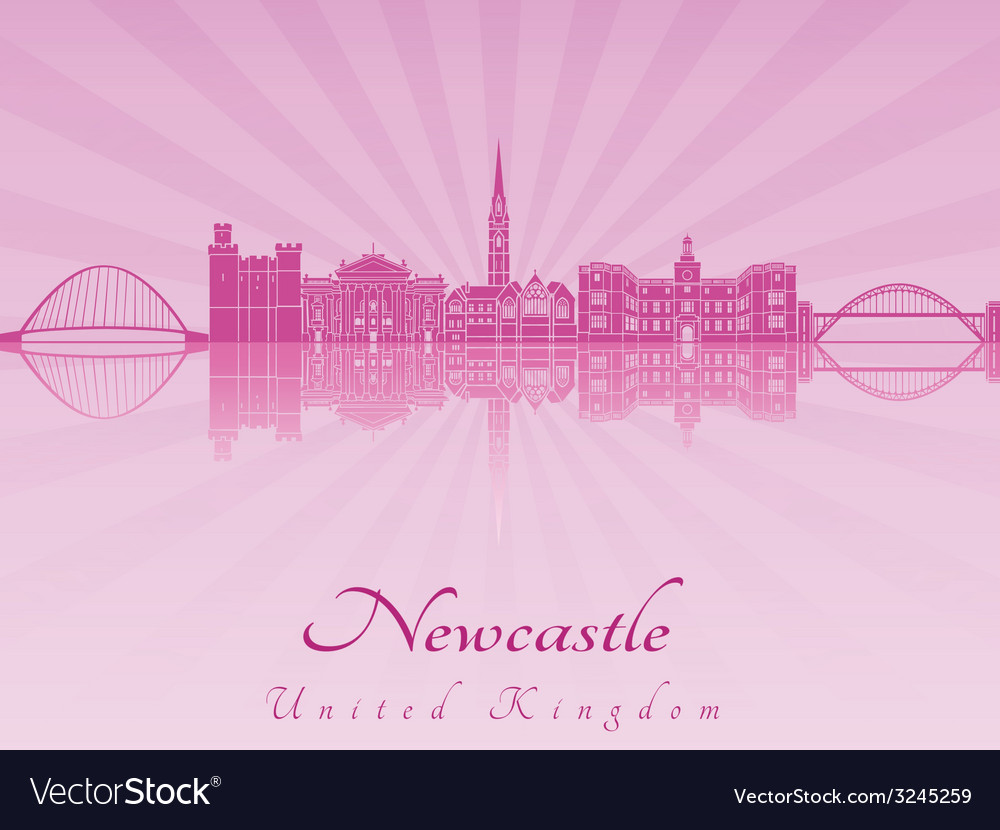 Newcastle skyline in purple radiant orchid vector | Price: 1 Credit (USD $1)