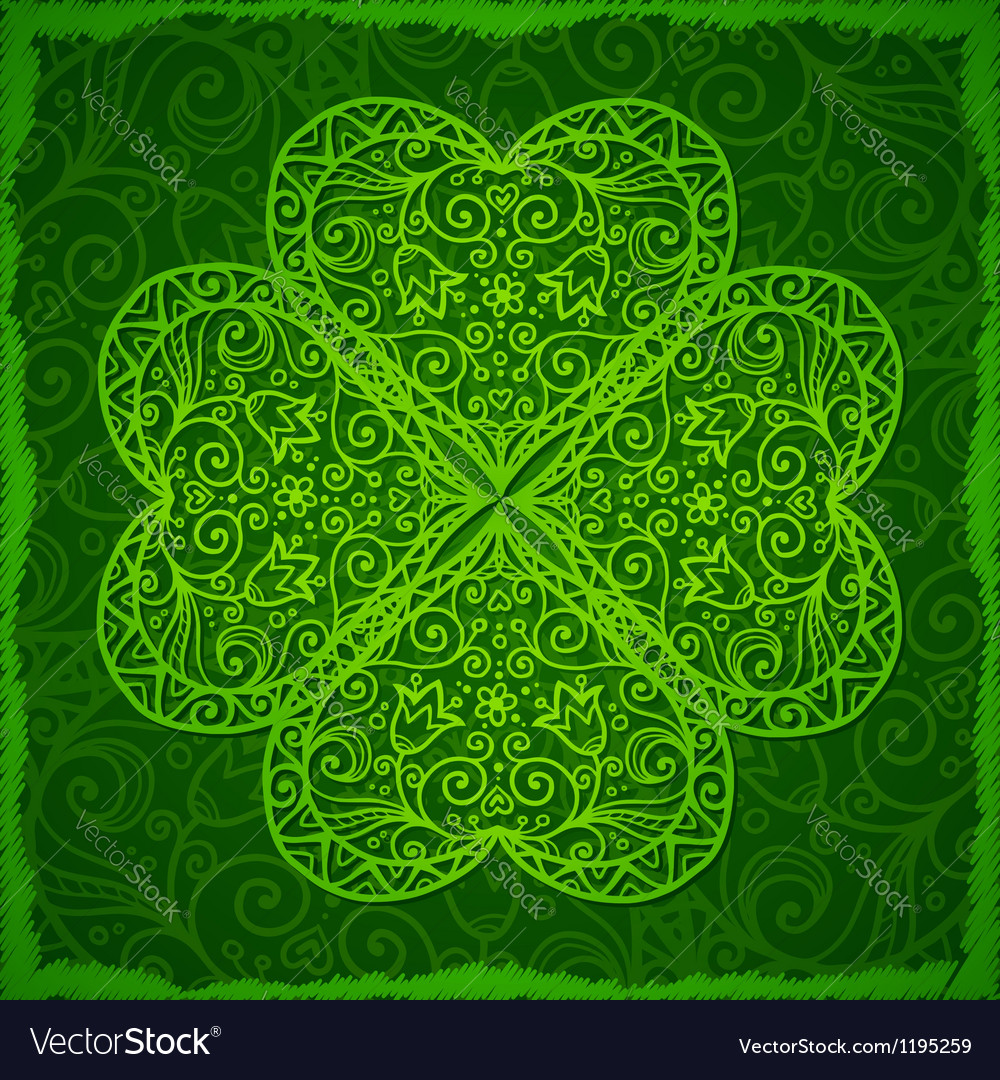 Ornate saint patricks day background with clover vector | Price: 1 Credit (USD $1)