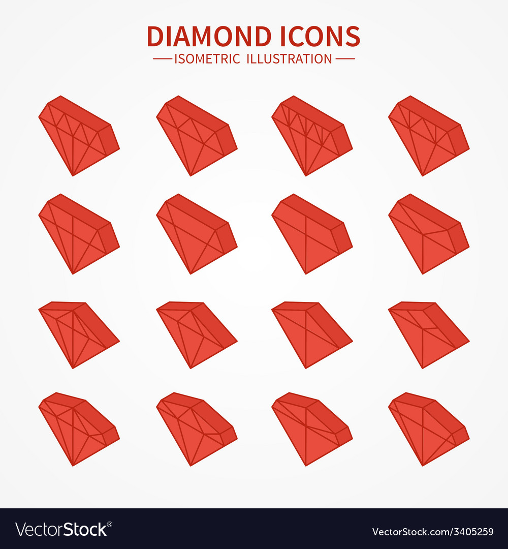 Set of diamond web iconssymbolsign in isometric vector | Price: 1 Credit (USD $1)