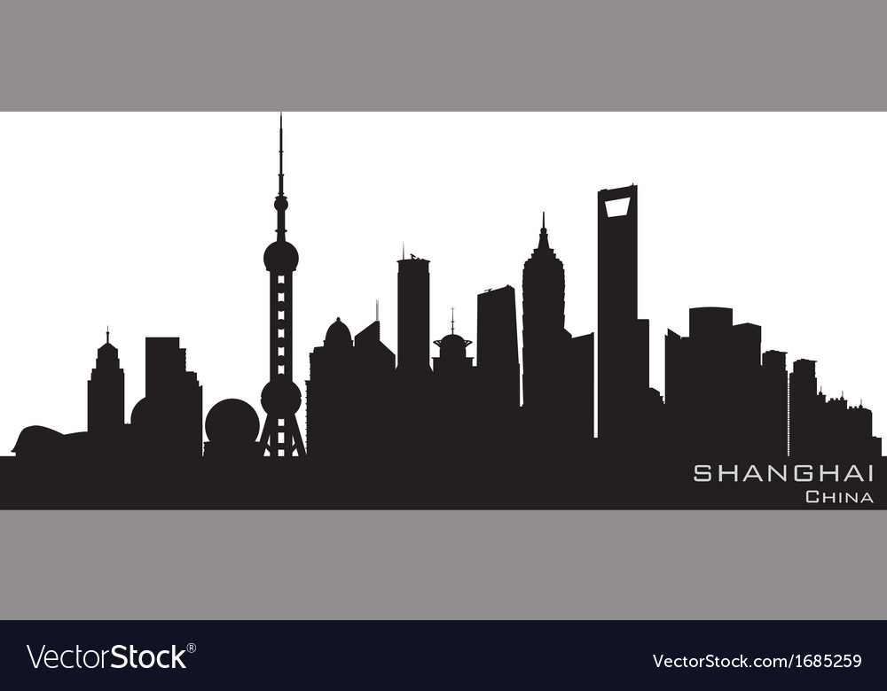 Shanghai china skyline detailed silhouette vector | Price: 1 Credit (USD $1)
