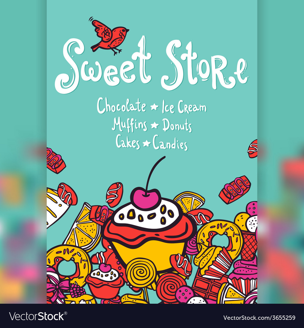 Sweet store background vector | Price: 1 Credit (USD $1)