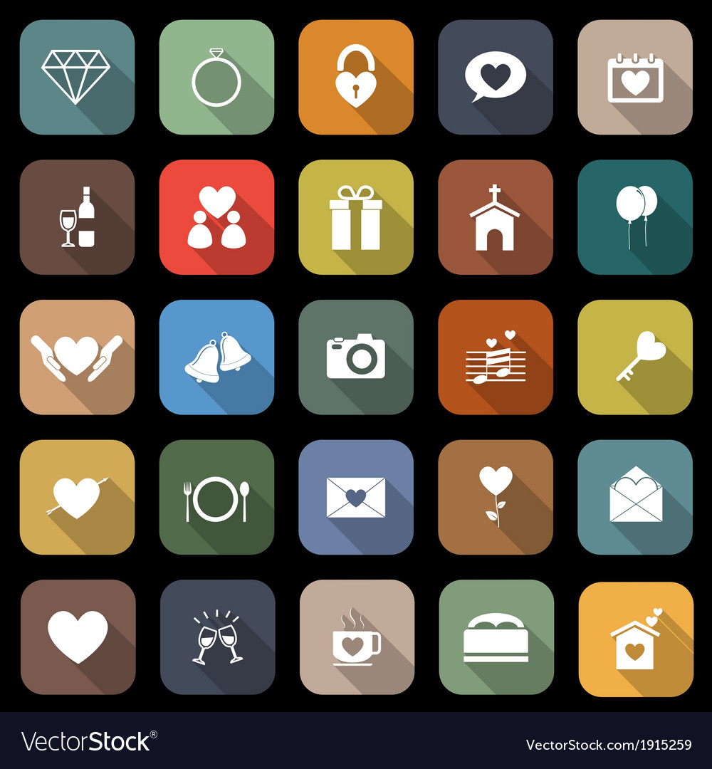 Wedding flat icons with long shadow vector | Price: 1 Credit (USD $1)