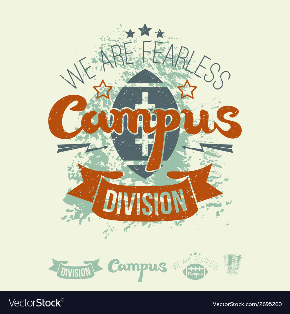 Campus rugby team emblem and icons vector | Price: 1 Credit (USD $1)