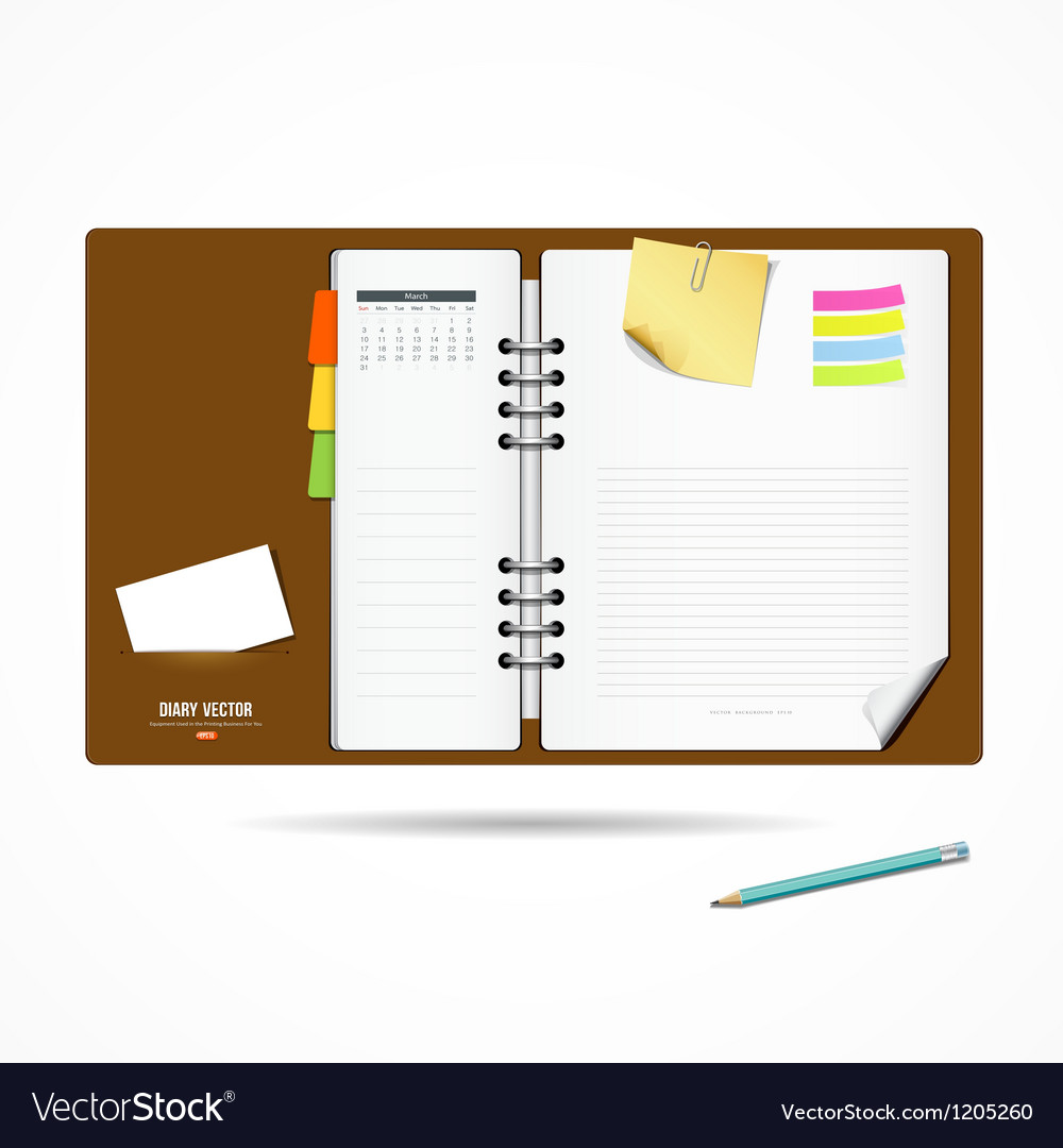 Diary note book modern design background vector | Price: 3 Credit (USD $3)