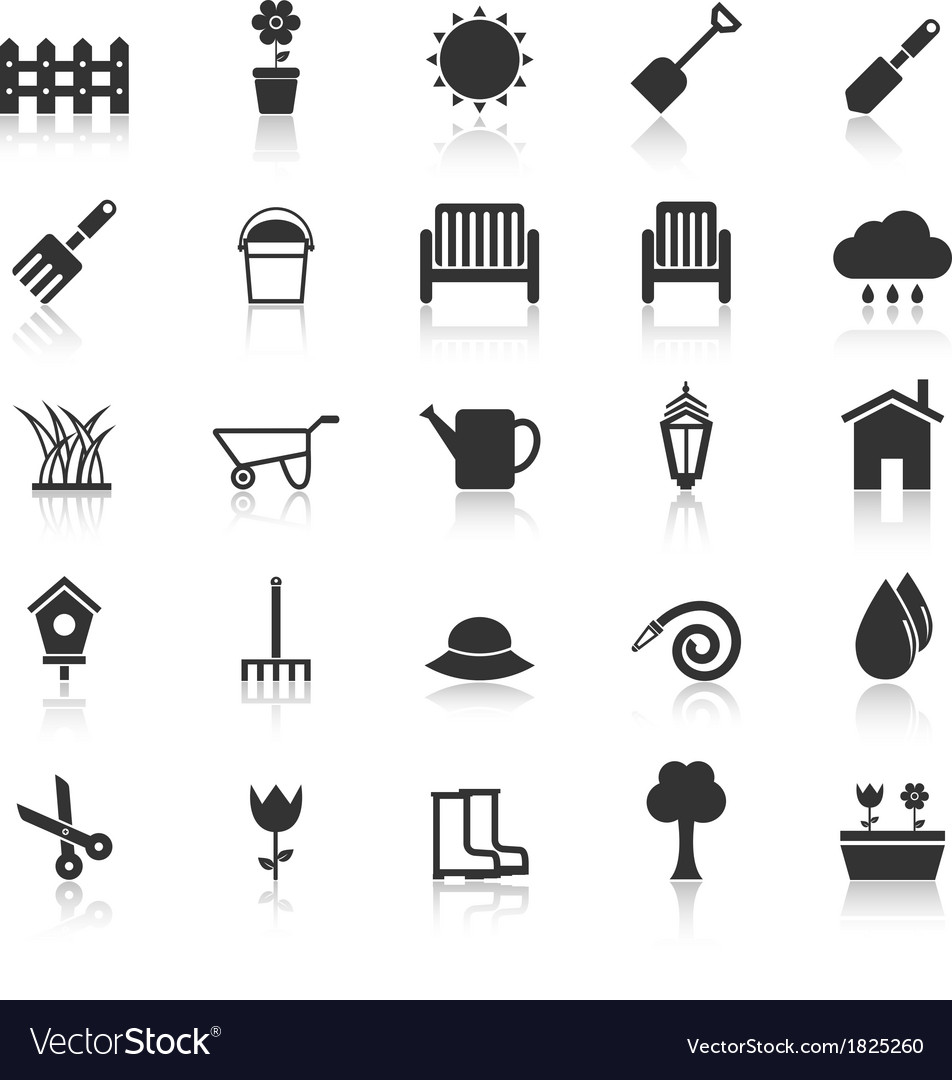 Gardening icons with reflect on white background vector | Price: 1 Credit (USD $1)