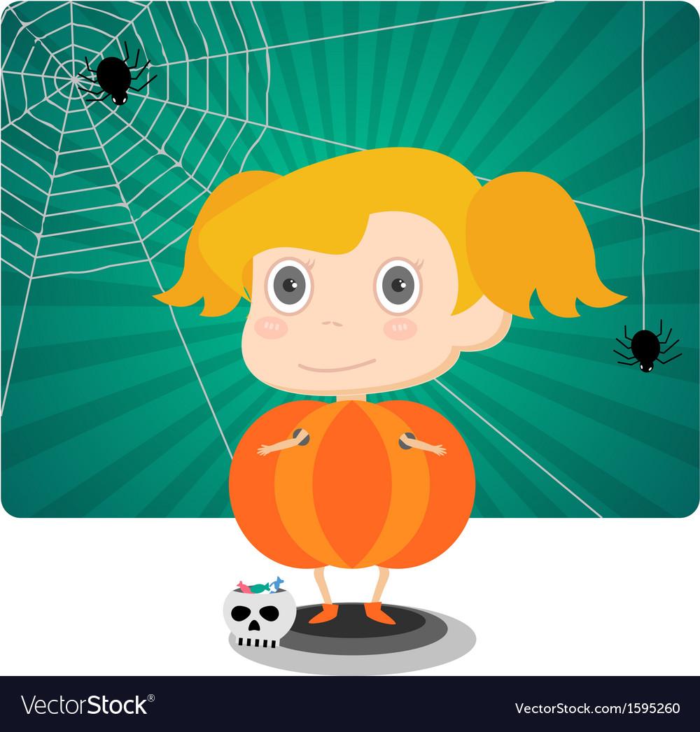 Little jack o lantern halloween girl vector | Price: 1 Credit (USD $1)