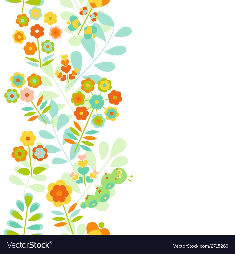 Seamless floral border background vector | Price: 1 Credit (USD $1)