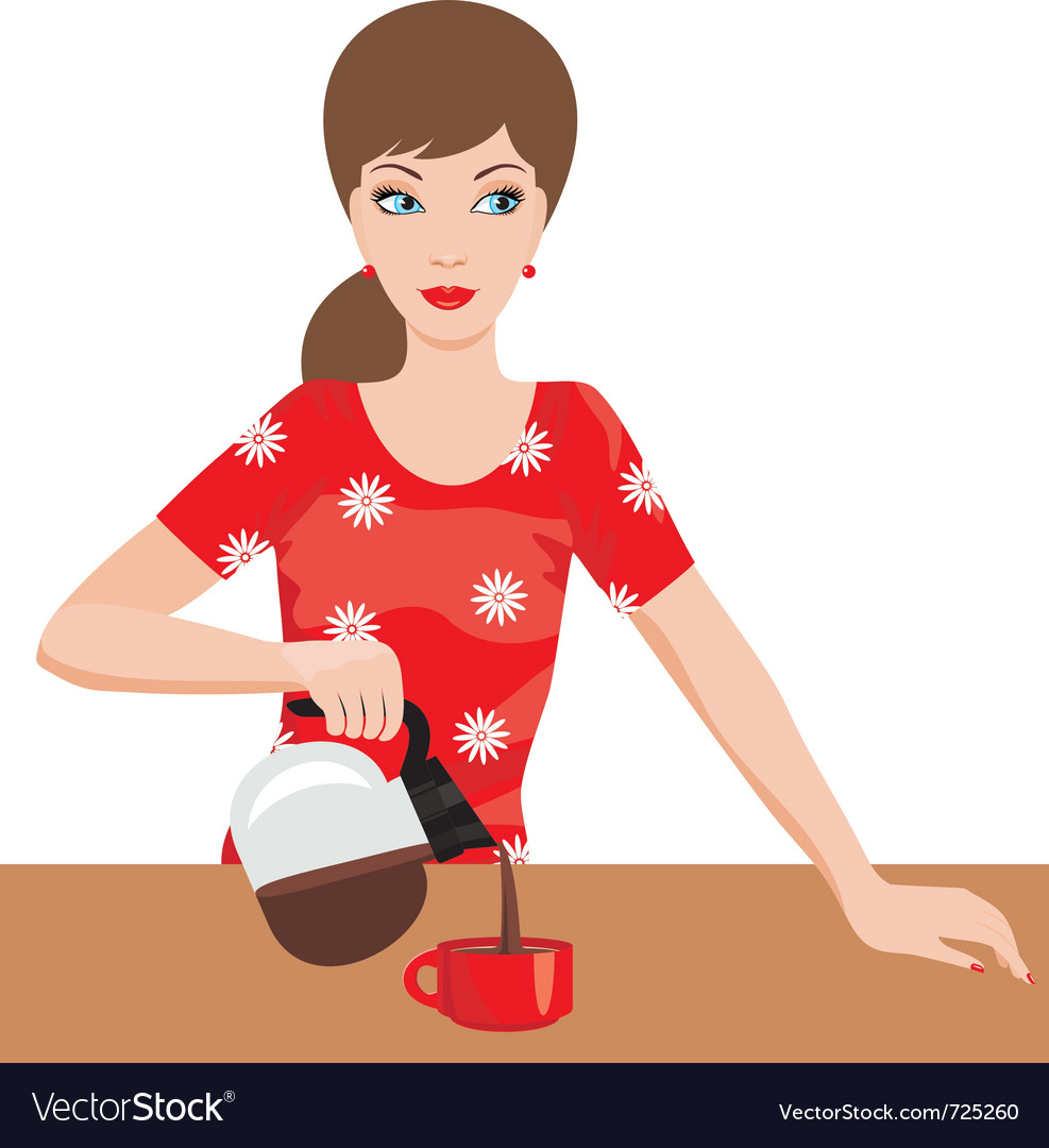 Woman on kitchen pours coffee vector | Price: 1 Credit (USD $1)