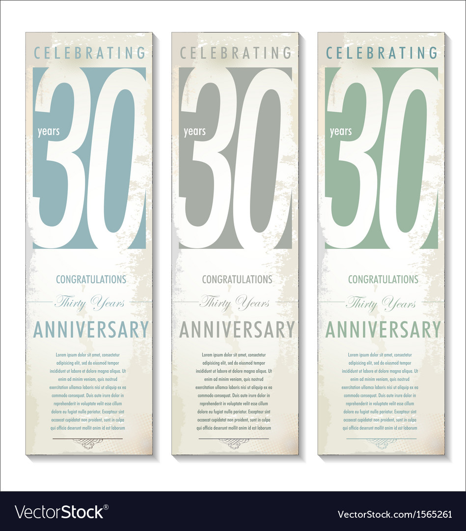 30 years anniversary retro banner set vector | Price: 1 Credit (USD $1)