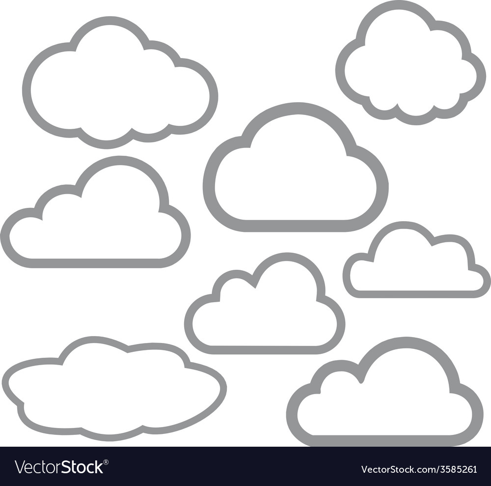 8 outline stroke clouds icons vector | Price: 1 Credit (USD $1)