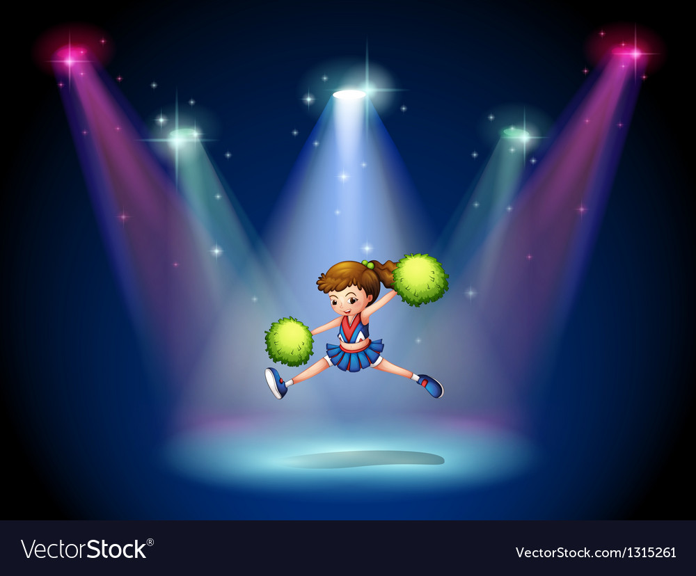 A cheerleader jumping on the stage with spotlights vector | Price: 1 Credit (USD $1)