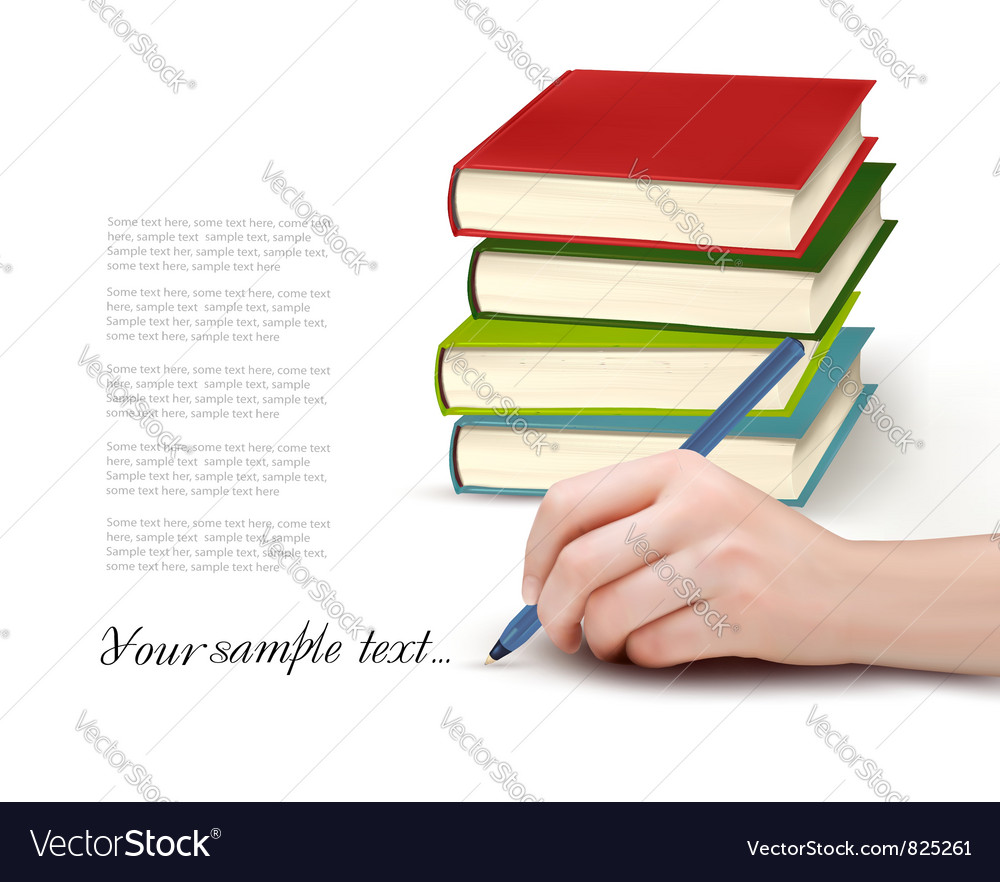 Books and writing vector | Price: 1 Credit (USD $1)