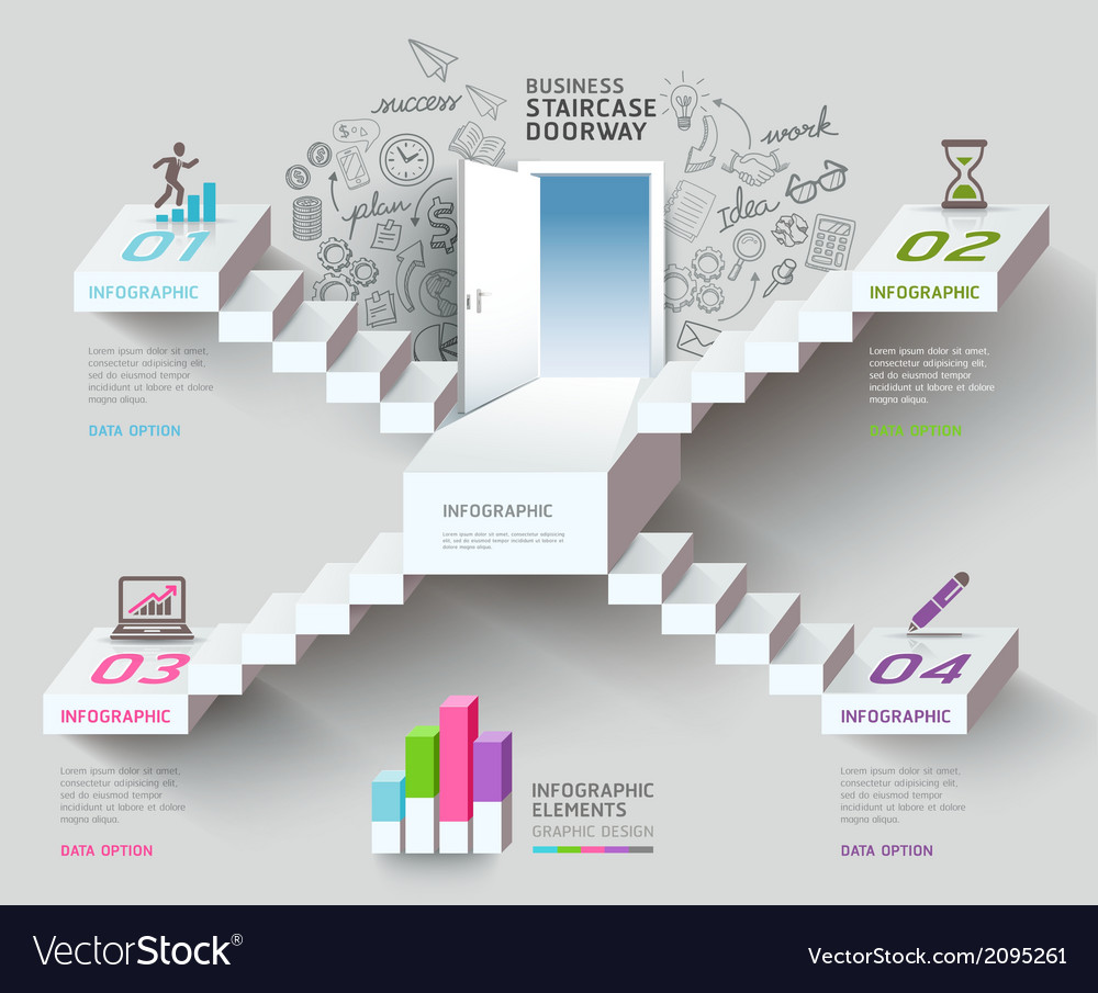 Business staircase thinking idea vector | Price: 1 Credit (USD $1)