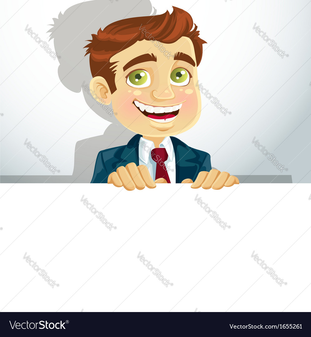 Businessman with horizontal big blank poster for vector | Price: 3 Credit (USD $3)