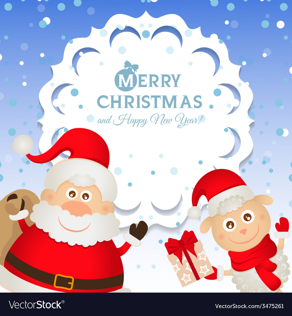 Christmas greeting card with santa claus and a vector | Price: 1 Credit (USD $1)