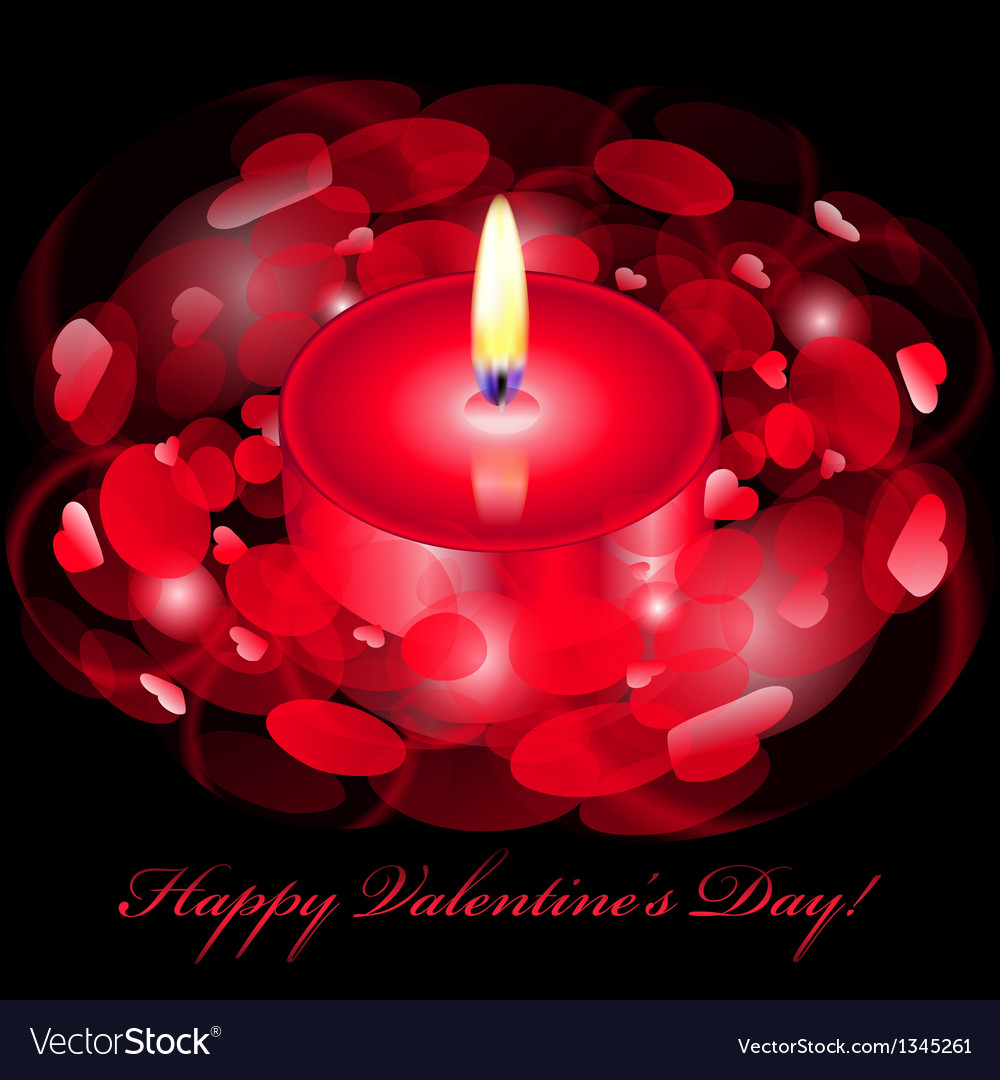 Happy valentines day card with red candle vector | Price: 1 Credit (USD $1)