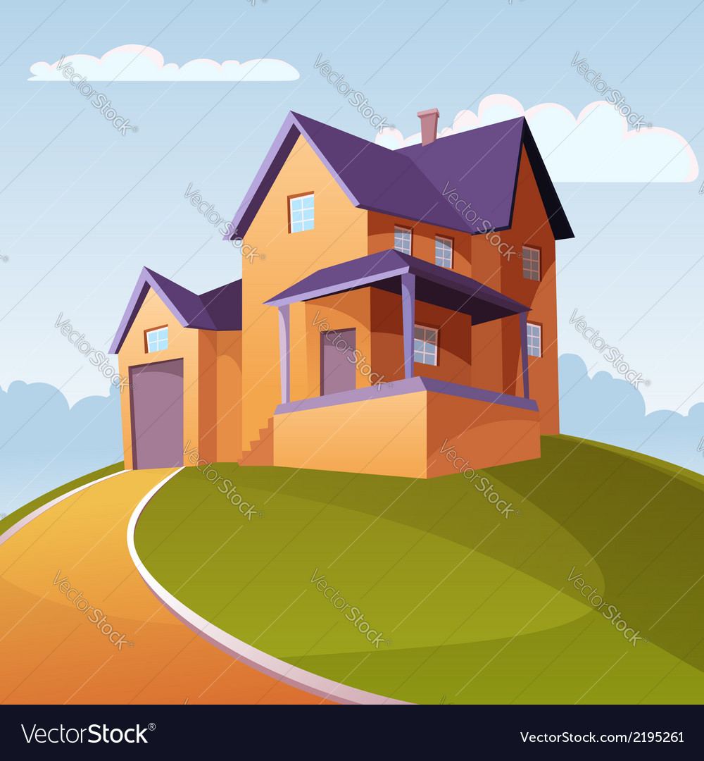 House on the hill vector | Price: 3 Credit (USD $3)