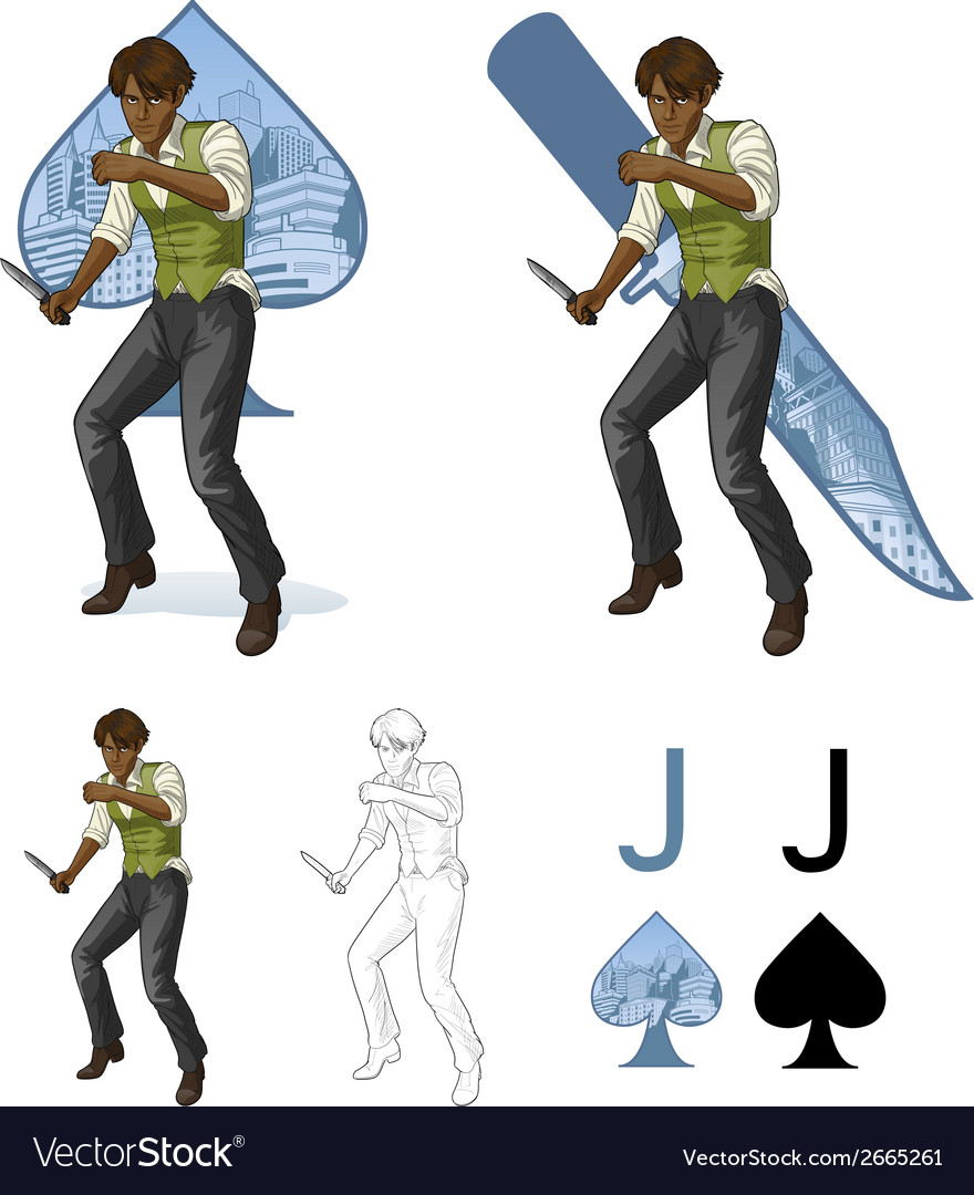 Jack of spades afroamerican brawling man mafia vector | Price: 3 Credit (USD $3)