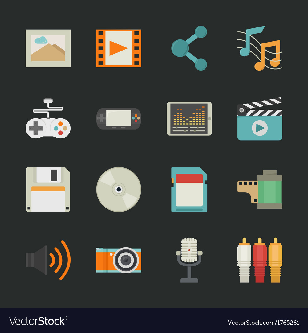 Multimedia icons with black background  eps10 vector | Price: 1 Credit (USD $1)