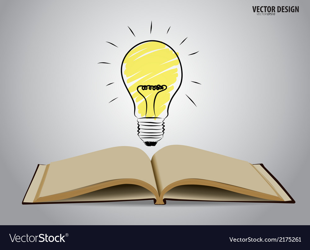 Opened book with light bulb vector | Price: 1 Credit (USD $1)