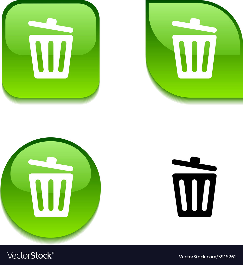 Recycle bin glossy button vector | Price: 1 Credit (USD $1)