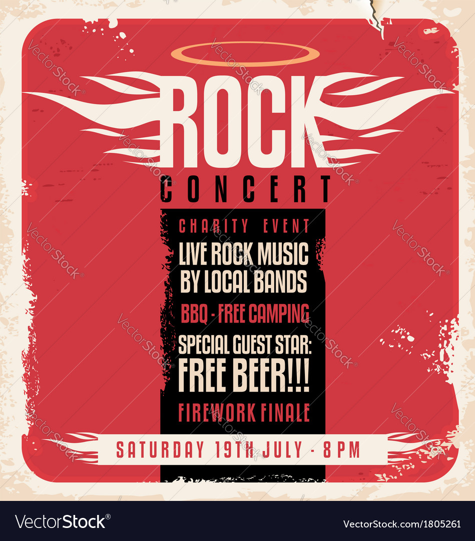 Rock concert retro poster design vector | Price: 1 Credit (USD $1)